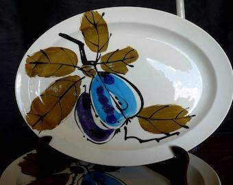 "Island Worcester ""Forbidden Fruit"" designed  by Vera Neumann - ONE -  15"" Large OVAL Serving Platter - Made in Jamaica"