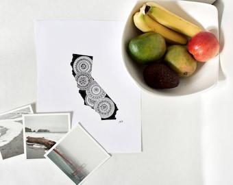 Zentangle California State Ink Art Print