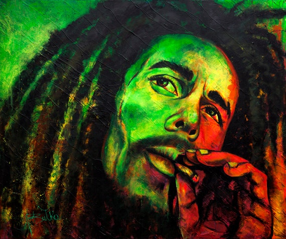 Art Portrait Painting Abstract Large Contemporary Original Acrylic Bob Marley Famous People Coloured Wall Modern