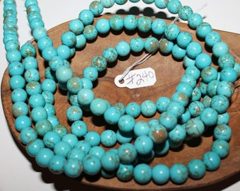"""15"""" Strand of 8mm Smooth Round Magnesite Beads ***Dyed Blue #240"""