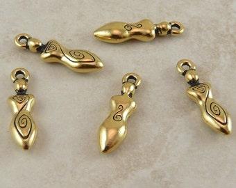 5 TierraCast Spiral Goddess Charms > Celtic Devine Feminine Mother - 22kt Gold Plated LEAD FREE Pewter - I ship Internationally 2163