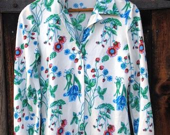 Strawberry Feilds Novelty Print Seventies Shirt