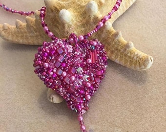 ON SALE NEW Kit and Pattern Heart Tutorial Bead Embroidery Be Still My Heart Pendant Necklace reversible