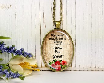 My Greatest Blessings Call Me Granny On Wood Background- Custom Names-Large Oval- Glass Bubble Pendant Necklace