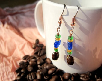 What's a Picnic without Coffee...Authentic Fair Trade Coffee Bean Earrings .. FREE U.S. SHIPPING