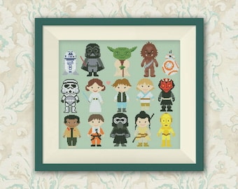 BOGO FREE! Star Wars Cross Stitch Pattern, Mini Pixel People Counted Cross Stitch Chart, Han Solo, Pr. Leia, PDF Instant Download,S046