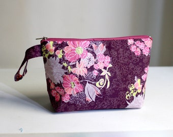 Floral Purple Pouch, make up bag, cosmetic case, zippered pouch, bridesmaid gift