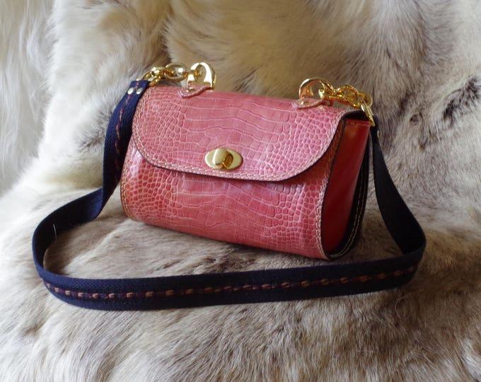 Pink leather printed crocodile women shoulder bag