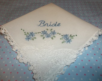 something blue wedding handkerchief, hand embroidered, bride with flower swag, bouquet wrap, white hanky,