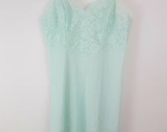 Vanity Fair Slip, 1950's, Pale Blue Green, Lace Trim, Adjustable Straps, Size Small