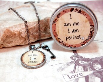 Mantra Pendant Necklace in Gift Tin I am me I am perfect for teens moms friends