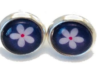 Kids Stud Earrings blue with flower for girl