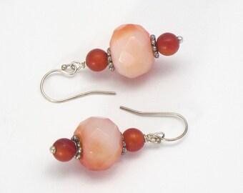 Faceted Agate Earrings, drop earrings, dangle earrings, orange earrings, coral colored, silver and orange, peach colored, beaded earrings