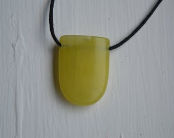 Drilled Olive Jade Pendant
