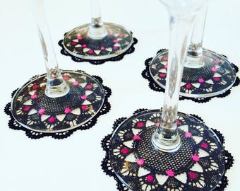 4 coasters in Black Lace