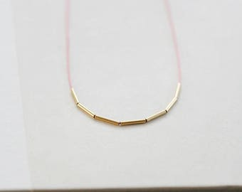 "ultra skinny necklace, silk string necklace with gold tube beads, thin gold tube necklace, delicate dainty necklace, ""fay"" handmade necklace"