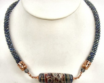 Blue Necklace, Colorful Necklace, Lampwork Pendant, Copper Necklace, Handwoven Beaded Rope, Statement Necklace