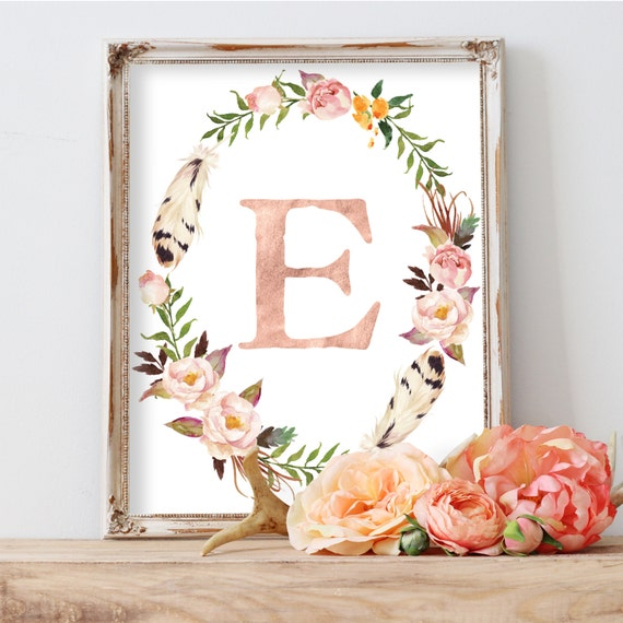 Diy Baby Nursery Floral Wall Decor: Printable Nursery Art Blush Nursery Decor Printable Monogram