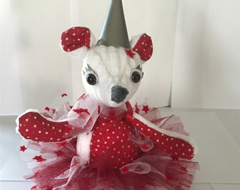 Plush red mouse tooth fairy