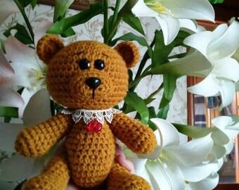 Crochet Teddy Bear with Heart Teddy Bear Plush crochet toys Stuffed Teddy Bear gift for her with Love Excuse me gift knitted Teddy Bear