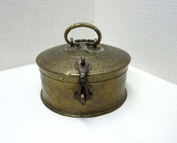 Vintage Brass Round Chapati Bread Box Made In India