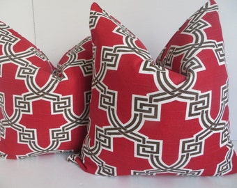 Red Decorative Pillow cover, Red Pillow Cover, Red white Pillow, Red Brown Pillow Cover, Red geometric Pillow Cover,18x18 pillow cover