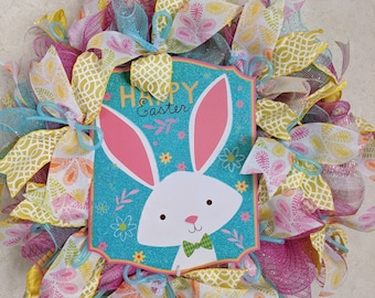 Easter Wreathe with bunny sign