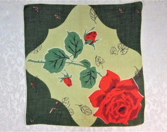 Vintage Hankie ~  Red Roses ~ Green Floral Handkerchief ~ Mid Century Clothing Accessories ~ Retro Mod