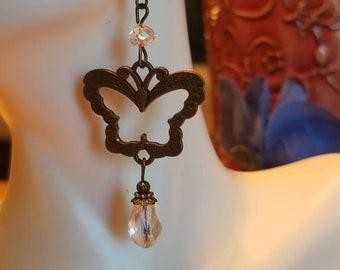 Bronze butterfly earrings, dangle butterfly crystal earrings, hook earrings