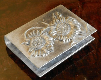 Antique French Art Nouveau Sunflower Large Matchbox Cover, c.1900, Smoking Accessories, Collectables, Vintage French Pewter. Home Decor