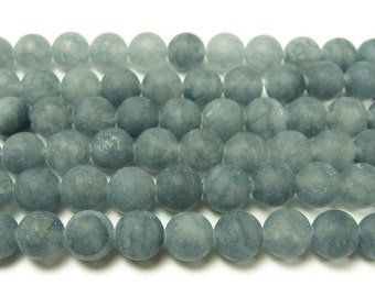 Slate Gray Jade Matte Round Gemstone Beads