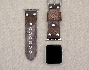 Apple Watch Band 42mm Leather and Canvas - Apple Watch Accessories - 38mm Apple Watch Strap Fabric - Rose Gold Lugs Adapter - iWatch Band