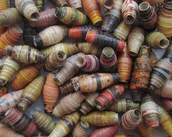 Reclaimed Rolled Paper Bead Mix, 12 mm - 13 mm -- 40 Beads