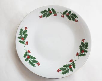 Painted Holly rimmed china plate
