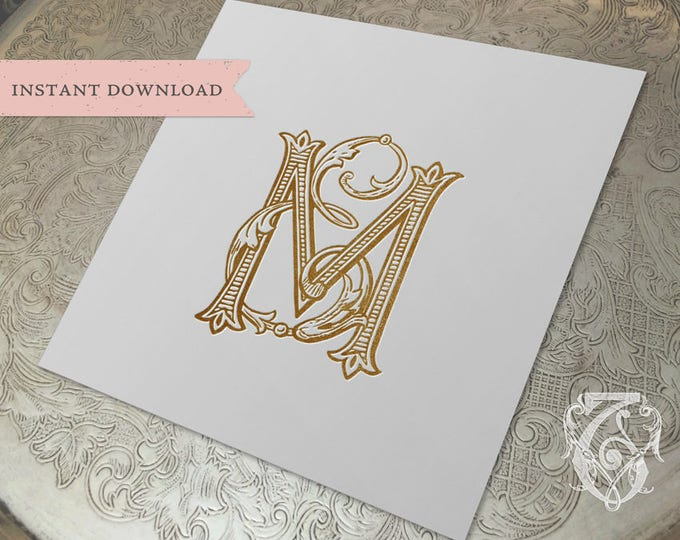 Vintage Wedding Monogram ME EM Digital Download E M