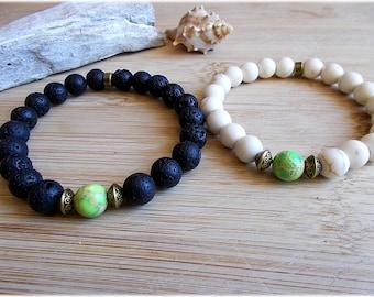 Partner Bracelet Set Lava Turquoise