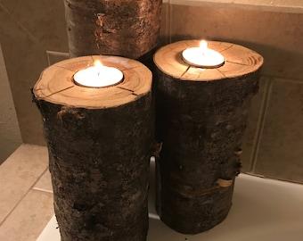 Rustic Tree Tea Light Candle Holders (set of 3)