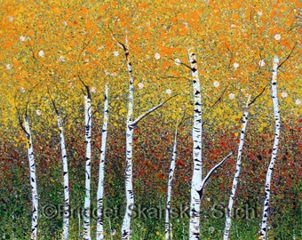 Sylvan/Limited Edition print/bridget skanski-such/trees/yellow/spatter painting/silver birch/leaves/forest/impressionist