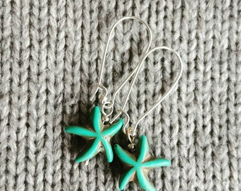 Seeing Starfish Turquoise Stone Earrings in Silver
