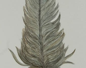 Feather, painting, art, wall decor, minimal, gold, blue, charcoal,antique look, canvas, boho, nature