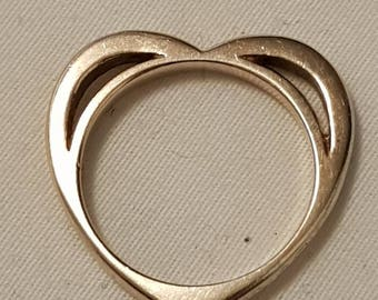 Vintage Sterling Silver Heart Ring (Size 7)