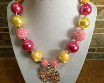 Bubblegum Necklace, Hot Pink, Pink, Yellow, Chunky Bubblegum Necklace, Spring Chunky Beads, Butterfly Pendant, Gumball Necklace, Photo Prop