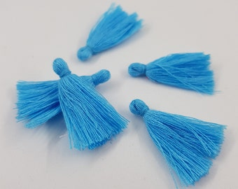 Pompon coton 5pcs bleu moyen