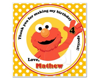 "Custom Elmo Thank you 4"" square Stickers-Sesame street Stickers- Personalized Baby Shower, Birthday Thank you Tags"