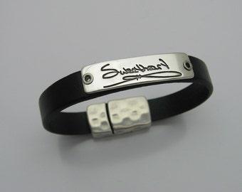 Handwriting Jewelry, Handwriting Bracelet, Silver Handwriting Bar, Leather Bracelet, Silver and Leather Bracelet, Personalized Bracelet