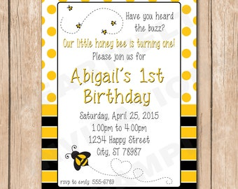 Honey Bee Birthday Invitation | Bumble Bees - 1.00 each printed