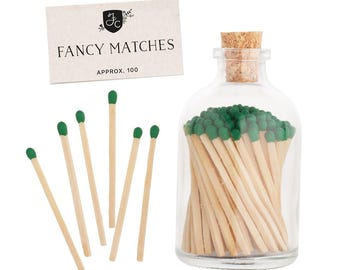 Green matches in a glass jar. Forest Matchstick Jar™. Dark Green colored matches. Green matches. Home decor. Farmhouse decor. Gifts for her.