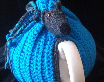 Hand Made Crochet Tea Cosy with Greyhound