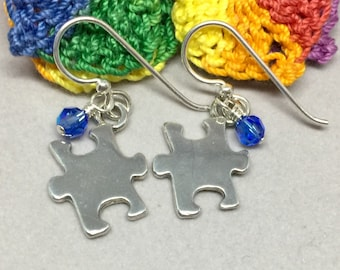 Autism Awareness Earrings; Solid .925 Sterling Silver Puzzle Piece Charm Earrings with Crystals