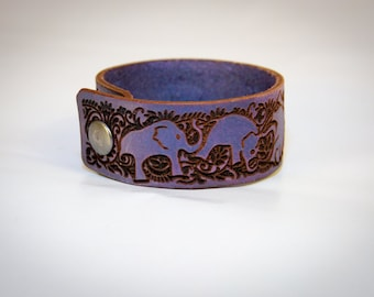 Laser Engraved Leather Tumbling Elephant Cuff Bracelet - Metallic Purple